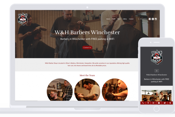 W&H Barber Shop website made by Smart Little Web